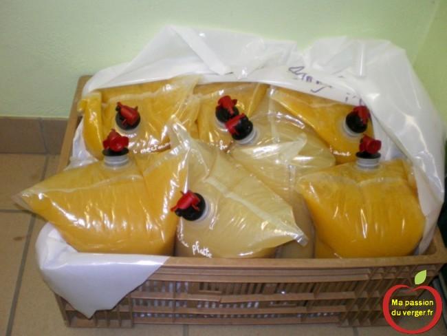 Le stockage des poches de bag in box, avec le jus et le nectar.