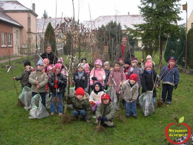 Plantation un arbre fruitier pour un élève