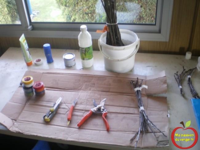 le matériel utilisé, pour la greffe de table