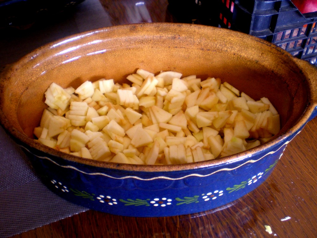 Mettre les morceaux de pommes dans une cocotte four en terre cuite ou en verre.