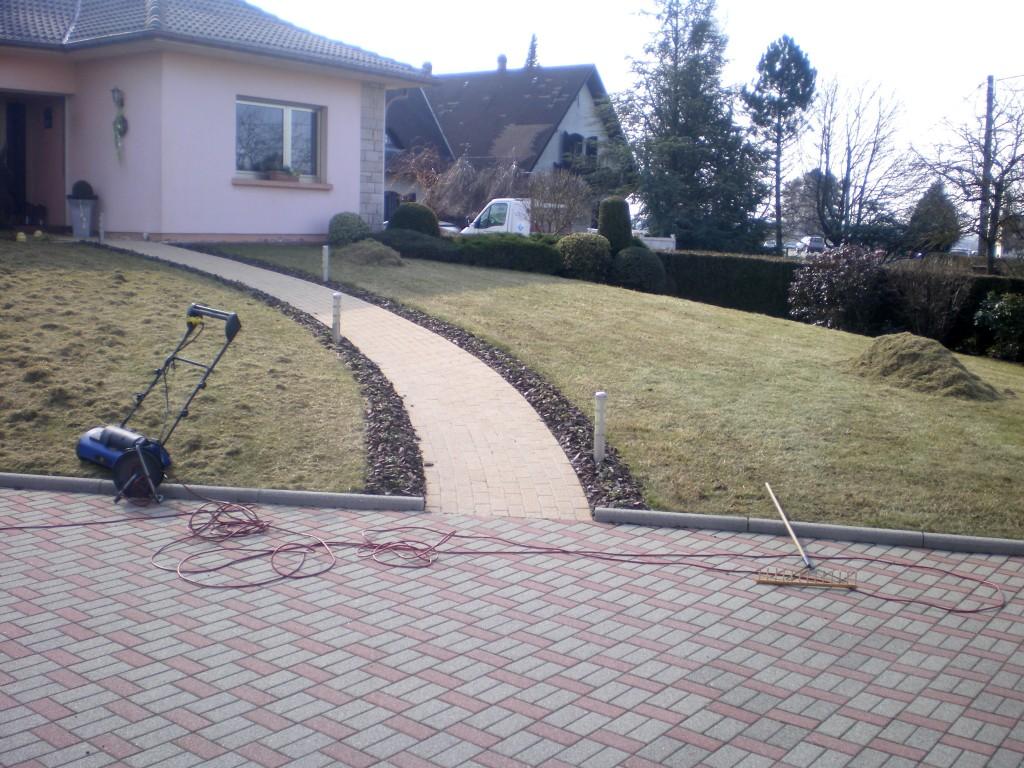 Ramassage de de l'herbe après la scarification de la pelouse ou du gazon. scarificateur electrique ou termique
