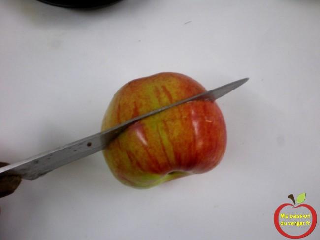 Coupez chaque pomme en deux en utilisant un couteau bien aiguisé, de façon à obtenir une coupe transversale du cœur