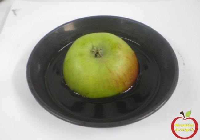 Une soucoupe de pot de fleur est idéale, à cause des empreintes dans le fond, pour faire tremper les fruits dans la solution iodée.