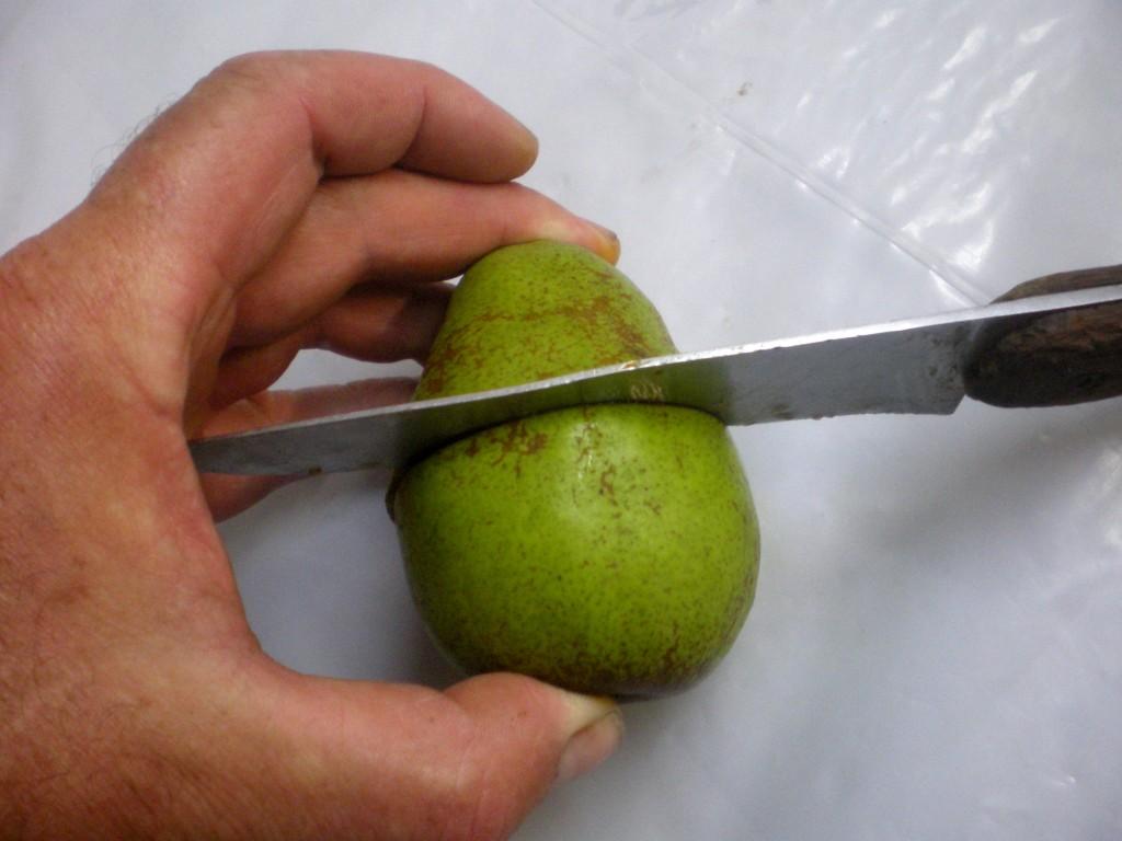 Coupez chaque poire en deux en utilisant un couteau bien aiguisé, de façon à obtenir une coupe transversale du cœur, pour faire le test à l'iode