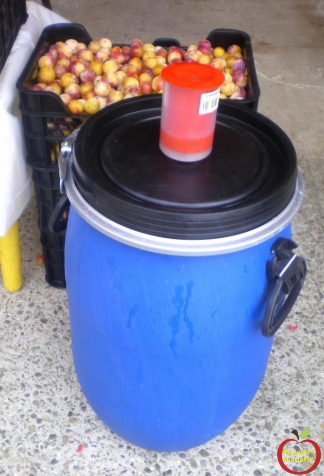 il faut utiliser des petits fut bleu de 30 litres et 60 litres, 120 litres, mise en fût pour fermentation mirabelles- alcool mirabelles