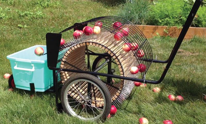 Ramasseuse à pousser qui ne ramasse pas les pommes pourries, car elle ne tiennent pas dans les pointes