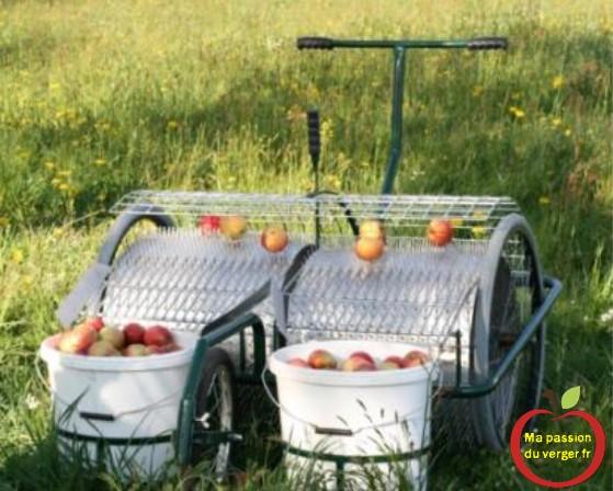 Une autre ramasseuse à pousser, avec des seaux pour mettre les fruits (Obstsammler)