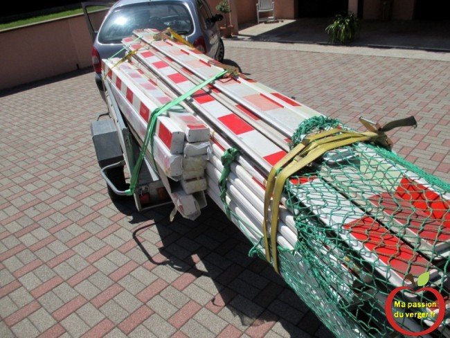 recyclage des barrières de passage a niveau, pour la fabrication d'une treille pour vigne
