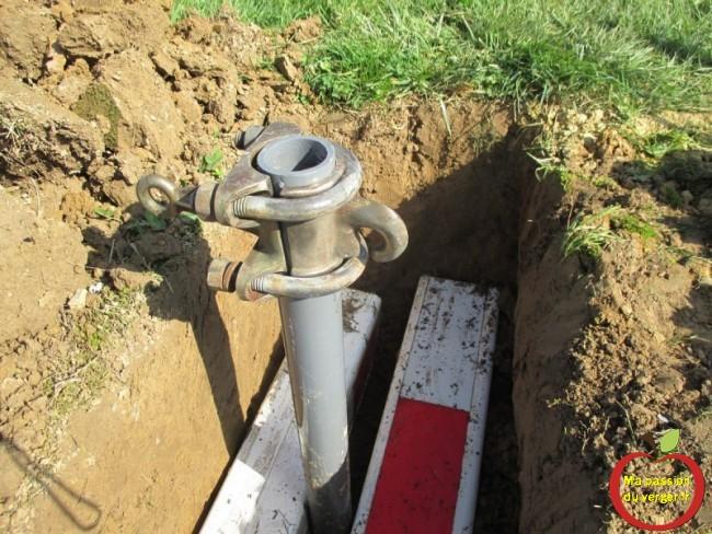 Ainsi, l'ancre ne peut pas monter et ne peut pas se tirer vers le poteau de palissage- , lors de la tension du câble d'encrage.