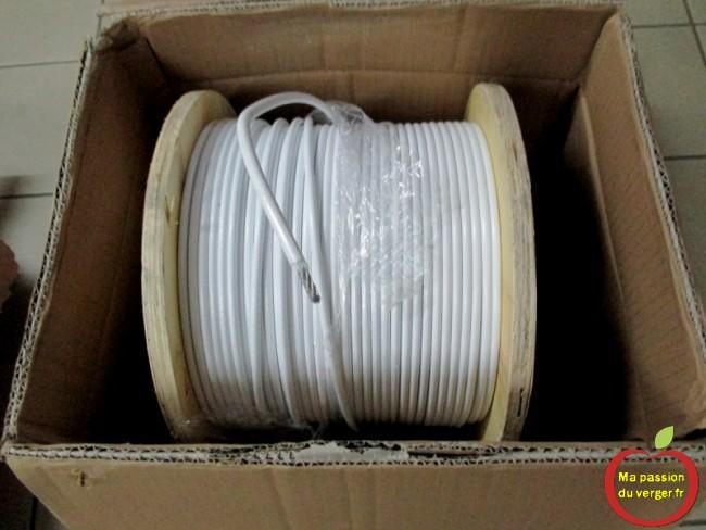 cable inox enrober blanc pour fil de tension palissage- fil palissage resistant aux orages et tempetes