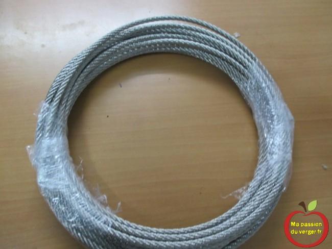 câble inox, de diamètre 6 mm pour ancrage des poteau de tete du palissage