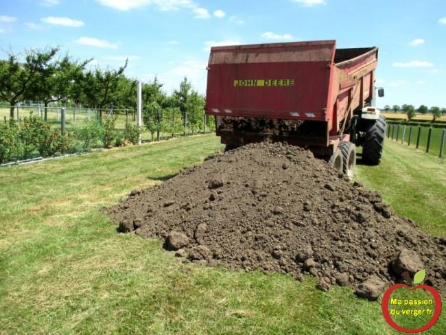terre pour plantation fruitier en butte- terre végétal dans le verger
