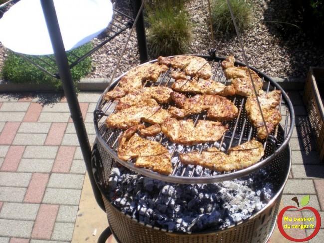 Tambour de machine à laver comme barbecue- la pince est préférable à la fourchette pour retourner les viandes en cours de cuisson car ainsi, la viande n'est pas piquée et garde tout son jus à l'intérieur pour encore plus de moelleux