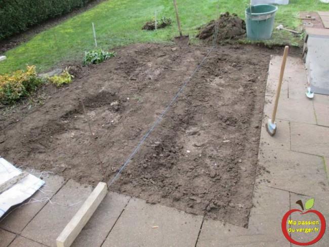 préparation du terrain pour le potager en carre