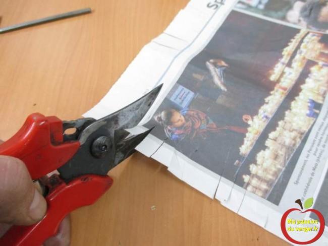 essai de coupe apres le remontage et le reglage du secateur