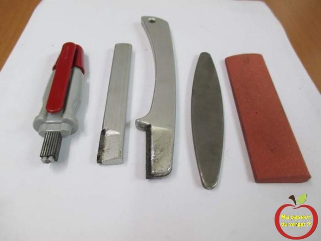 outils pour affiler une lame de couteau, secateur, ebrancheur.