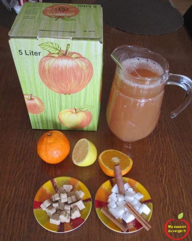 Les ingrédients pour le jus de pomme chaud de noël.