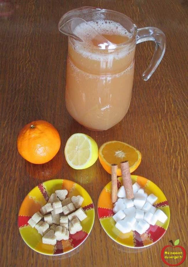 Ingrédients pour du jus de pomme chaud à la cannelle- comment faire un jus de pomme chaud de noël.
