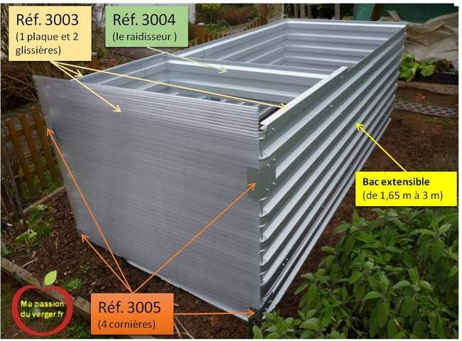 Les références pour les options du bac extensible de 3 m.- référence bacs jardin- référence bac potager- référence bac permaculture- commander grand bac potager.