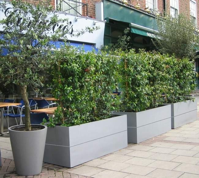 Protection des terrasses de restaurants, de cafés,... avec des jardinières de plantation -Les bacs peuvent également être fixer au sol pour garantir une bonne protection)-