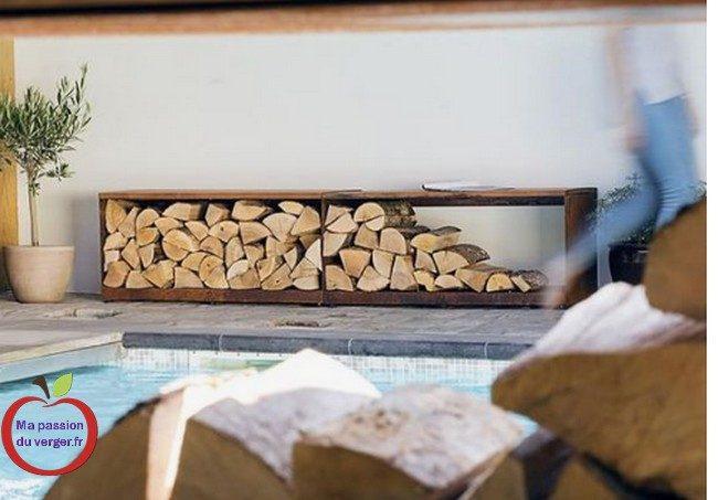 Bac en banquette pour rangement bois de chauffage- Bac rouillé en banquette pour rangement bois de chauffage.- Bac en acier corten en banquette pour rangement bois de chauffage.