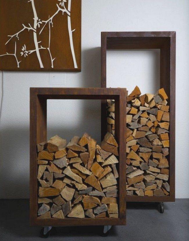 bacs sur roulettes en acier rouillé pour le rangement bois- bac sur roulettes- jardinière sur roulettes- bac corten pour bois de chauffage.