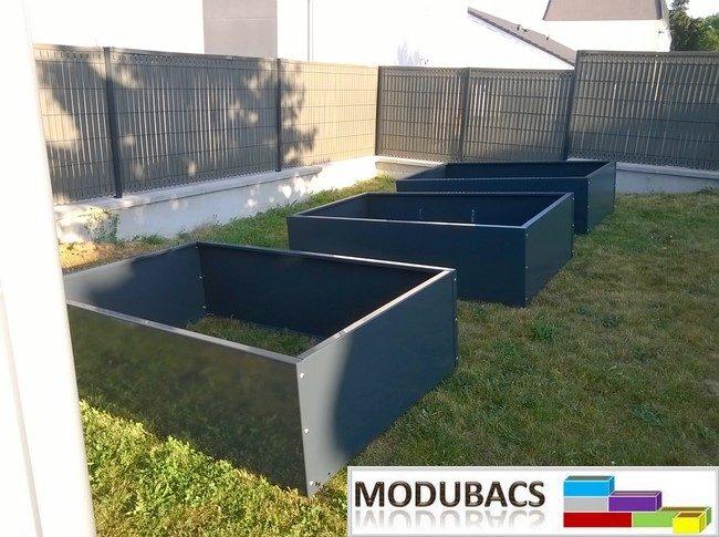 Ensemble de 8 bacs potagers en aluminium brut de monté en ligne- Potager en aluminium brut- potager familiale en façon permaculture- Bac en Ral 7116 gris anthracite- Modubacs