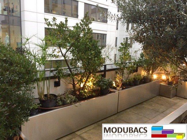 Jardinière en aluminium pour terrasse- jardinière en alu pour toiture- bac potager pour toiture- bacs potager sur terrasse- Modubacs-